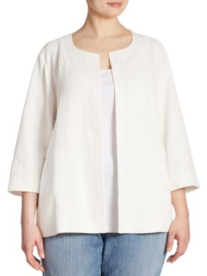 Crinkle Open-Front Jacket by Eileen Fisher, Plus Size