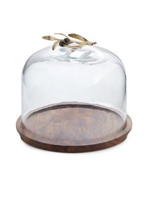 Olive Branch Glass Dome & Wood Base