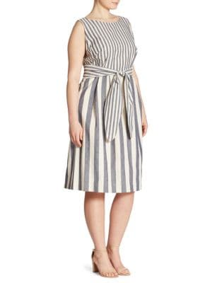 Zoe Striped Tie-Front Dress