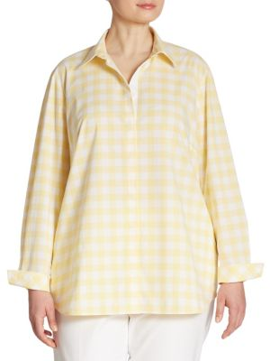 Brody Gingham Stretch-Cotton Blouse by Lafayette 148 New York, Plus Size