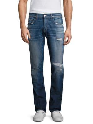 Distressed Slim Straight Jeans
