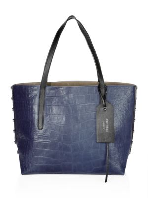 Twist East West Croc-Embossed Leather Tote