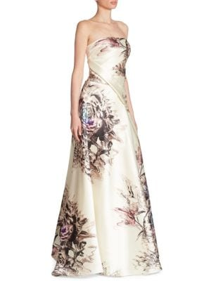 Floral-Print Satin Gown