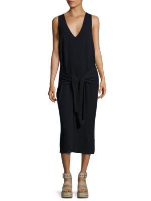 Michelle Tie-Front Rib-Knit Sweater Dress