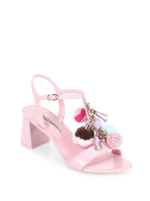Juno Pom-Pom Patent Leather T-Strap Block Heel Sandals