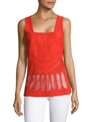 Kayleigh Embroidered Mesh Peplum Top by KOBI HALPERIN