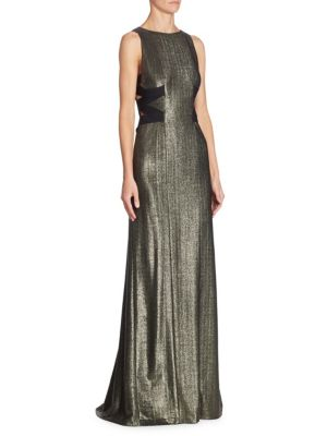 Crisscross Metallic Dress
