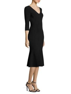 Wool V-Neck Flare Dress
