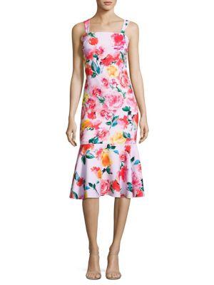 Floral-Print Trumpet Dress