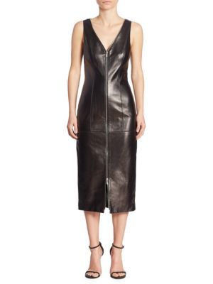 Leather Zip-Front Dress
