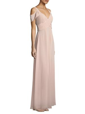 Cold-Shoulder Shirred Gown