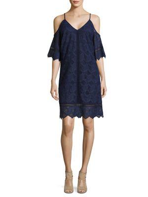 Lace Cold-Shoulder Trapeze Dress