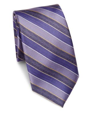 COLLECTION Diagonal Striped Textured Silk Tie