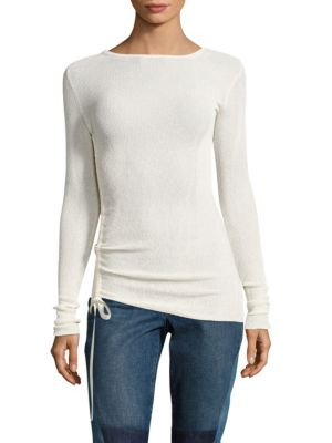 Side Tie Crepe Pullover