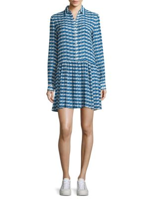 Printed Drop-Waist Silk Shirtdress