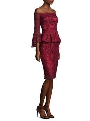 Off-The-Shoulder Peplum Lace Dress