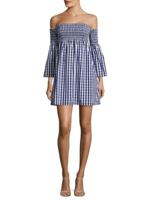 Jodi Off-The-Shoulder Gingham Cotton Poplin Dress