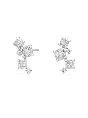 Chatelaine® Diamond 18K White Gold Climber Earrings