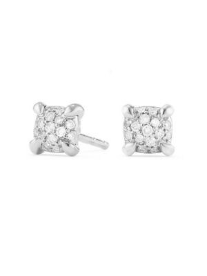 Precious Châtelaine® Stud Earrings with Diamonds in 18K White Gold