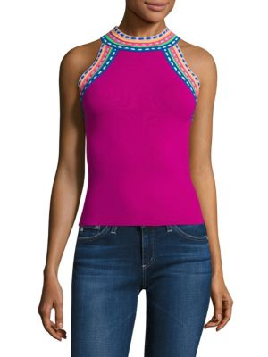 Buy MILLY Woven Trim Halter Top online with Australia wide shipping