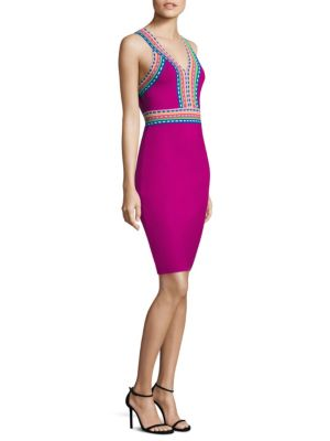 Woven Trim Sheath Dress