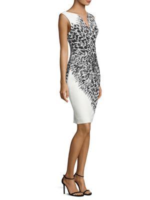 Italian Cady Feather-Print Sheath Dress