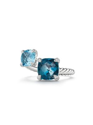 CHATELAINE BYPASS RING WITH HAMPTON BLUE TOPAZ, BLUE TOPAZ AND DIAMONDS