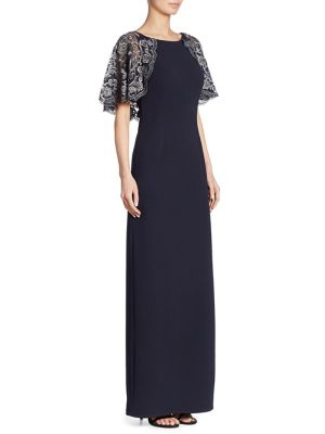 Buy Aidan Mattox Lace Crepe Gown online with Australia wide shipping