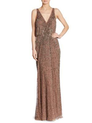Beaded Blouson Gown