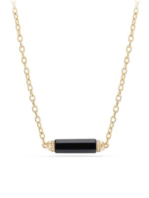 DAVID YURMAN Barrels Station Pave Diamonds, Gemstone & 18K Yellow Gold Necklace