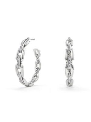Wellesley Link Hoop Earrings with Diamonds