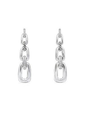 DAVID YURMAN | Wellesley Link Diamonds And Sterling Silver Convertible Chain Drop Earrings | Goxip