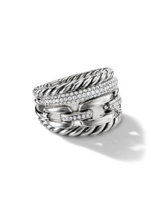 Wellesley Sterling Silver and Diamonds Link Four-Row Ring
