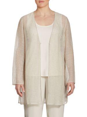 Plus Linen-Blend Mesh Jacket