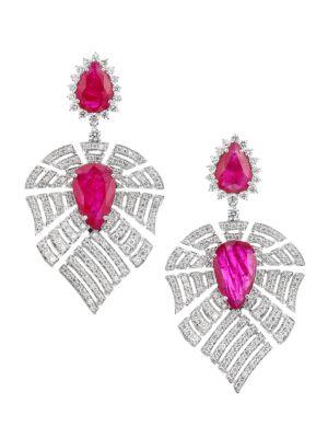 Apus 18K White Gold, Diamond & Ruby Drop Earrings