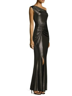Shirred Floor-Length Gown
