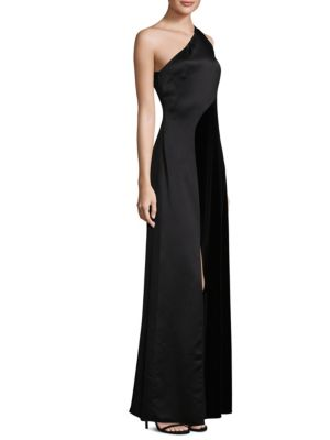 Satin One-Shoulder Gown