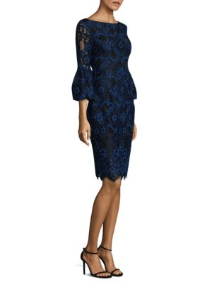 Corded Lace Bell Sleeve Dress