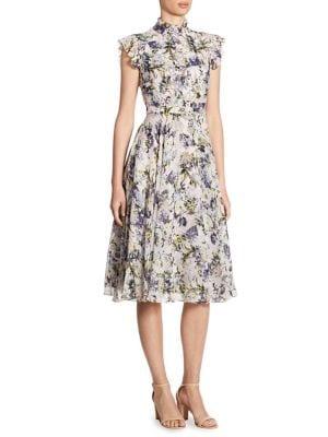 Reba Ruffled Floral-Print Silk Dress