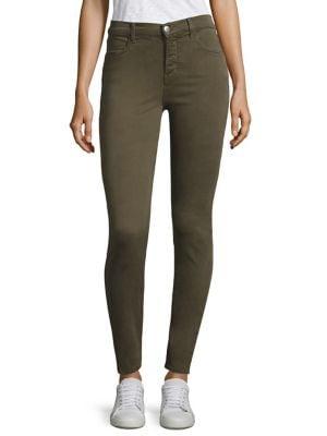 Maria High-Rise Sateen Skinny Jeans/Malachite