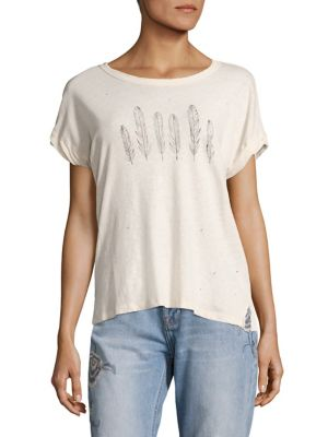 Large Feather Print Tee by Current/Elliott