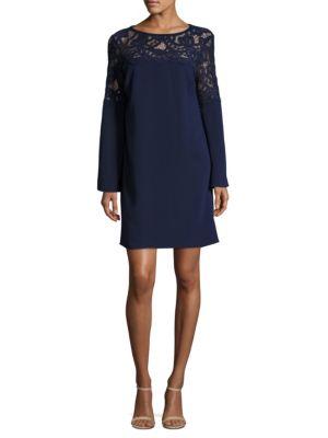 Lace Yoke Crepe Dress