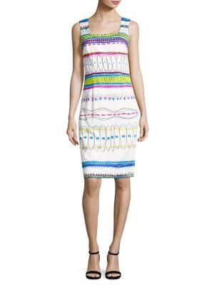 Printed Stretch-Cotton Sheath Dress