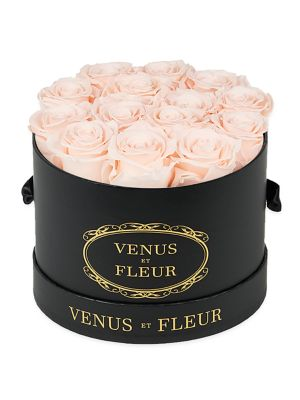 Classic Small Round Box with Pure White Roses