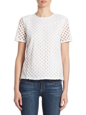Hermosa Cotton Eyelet Tee by Tory Burch