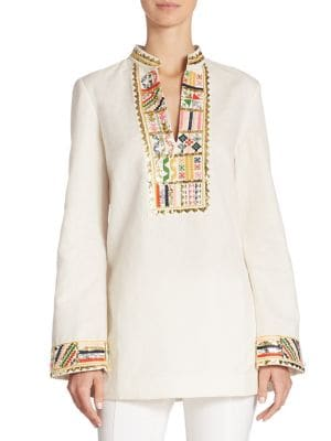 Tory Embellished Cotton Tunic by Tory Burch