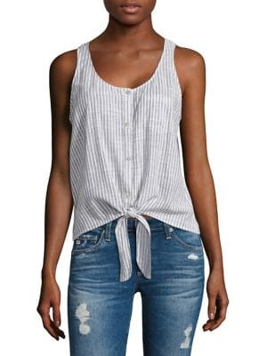 Cynthia Striped Tie-Front Tank Top by AG