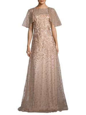 Metallic Floral Embroidered Gown