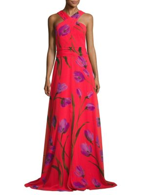 Cross Neck Halter Floral-Printed Gown