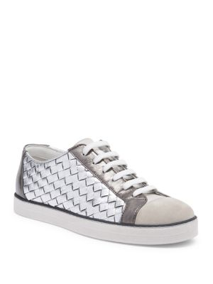 Woven Metallic Leather Sneakers